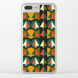 Retro Christmas trees Clear iPhone Case