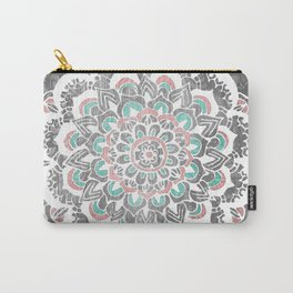 Pastel Floral Medallion on Faded Silver Wood Carry-All Pouch
