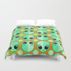 Happy Alien and Daisy Nineties Grunge Pattern Duvet Cover