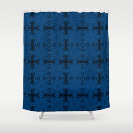 Lapis Blue Abstract Shower Curtain