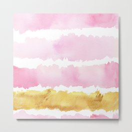 Pink and Gold Bold Watercolor Brush Strokes Metal Print