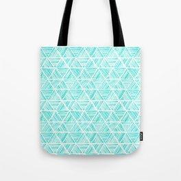 Aquamarine Watercolor Triangular Pattern Tote Bag