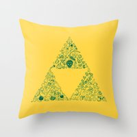 triforce Throw Pillows featuring Triforce by Constanza Morales