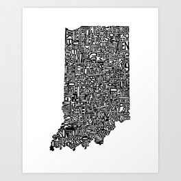 Typographic Indiana Art Print