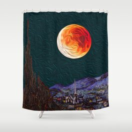 Blood Moon over Starry Night Van Gogh Shower Curtain