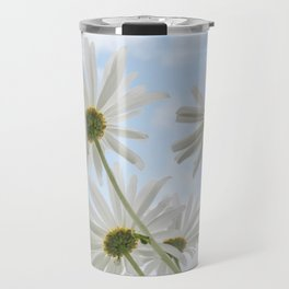 Remembrance Delicate White Daisies against Light Blue Cloudy Sky Travel Mug