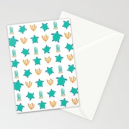 Cute turquoise orange turtle nautical coral reef floral Stationery Cards