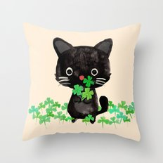 The Luckiest Cat Throw Pillow