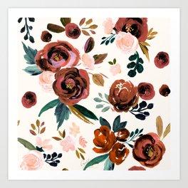 Valentina Vintage Rust Rose Art Print