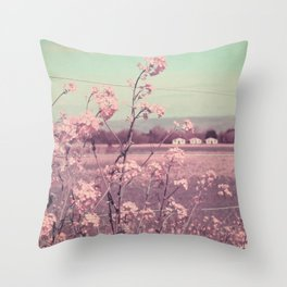 Sweet Spring (Teal Sky, Soft Pink Wildflowers, Rural Cottage) Throw Pillow