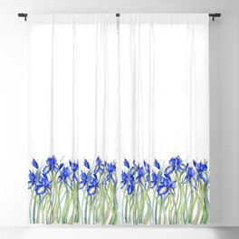 Blue Iris, Illustration Blackout Curtain