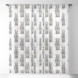 Distressed Peace Sign Sheer Curtain