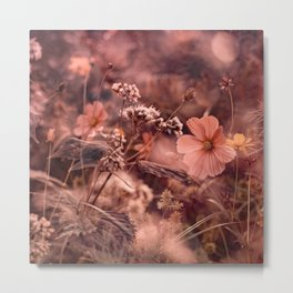 Rust and Blush NC Wildflowers Metal Print