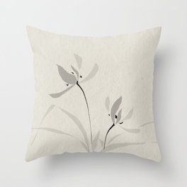 Japanese orchid Asian style brush painting Throw Pillow