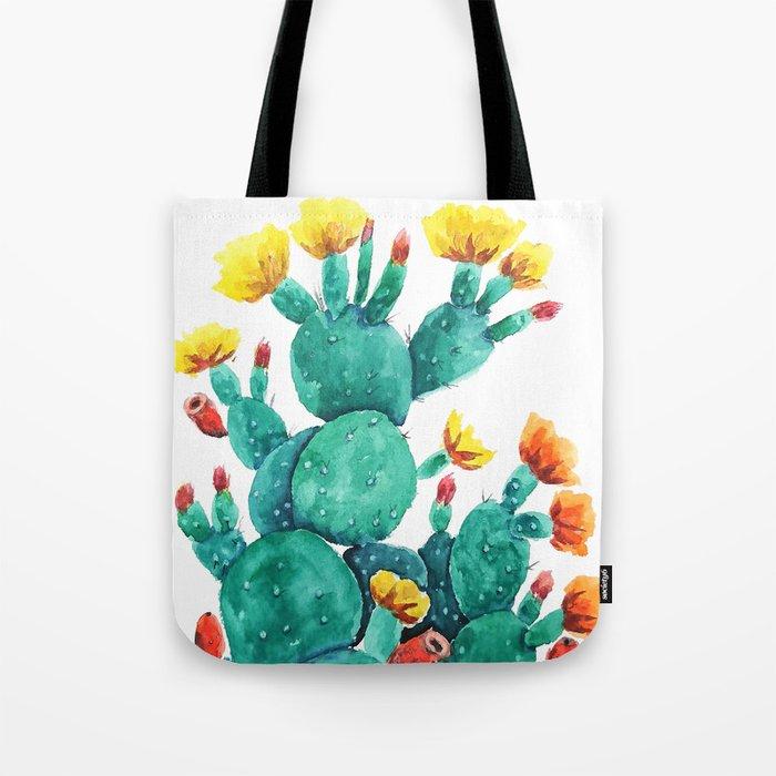 flowering cactus watercolor painting Tote Bag