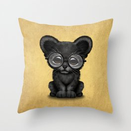 Cute Baby Black Panther Cub Wearing Glasses on Yellow Throw Pillow