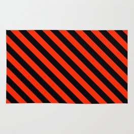 Bright Red and Black Diagonal LTR Stripes Rug