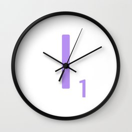 Purple Letter I Scrabble Monogram Wall Clock