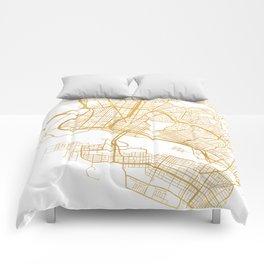 OAKLAND CALIFORNIA CITY STREET MAP ART Comforters