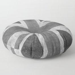 UK flag, Greyscale Retro Floor Pillow