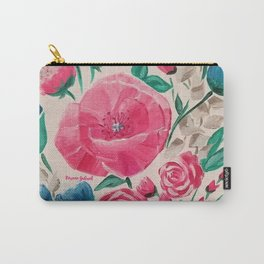 Floral Fun, Modern Pink and Blue Acrylic Flowers Carry-All Pouch