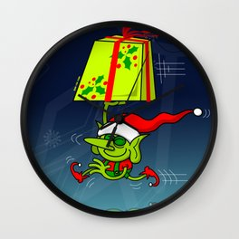 Christmas Elf Bringing a Gift Wall Clock