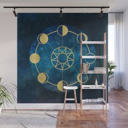 Gold Moon Phases Sun Stars Night Sky Navy Blue Wall Mural