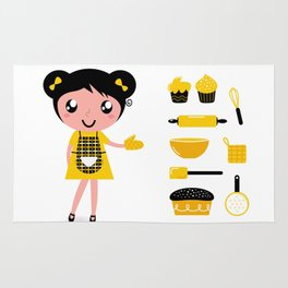 New Gift edition : Cooking vintage girl / yellow black Rug