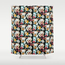 Super Lucky Pattern in Black Shower Curtain