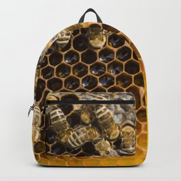 Honeycomb with bees Backpack