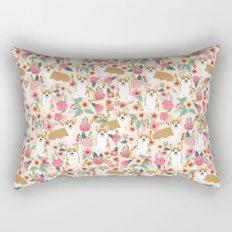 Corgi floral spring bloom flowers nature garden dog dog breeds corgis cute corgi puppies love  Rectangular Pillow