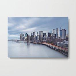 Manhattan Skyline with Brooklyn Bridge Metal Print