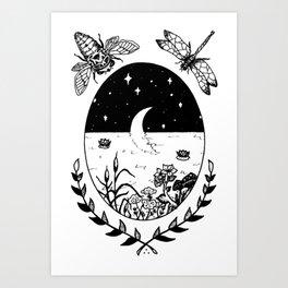 Moon River Marsh Illustration Art Print