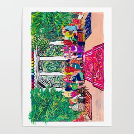 This is not a Party: Brightly colored painting of a group of people in a gigantic greenhouse with rugs and rainbow clothing Poster