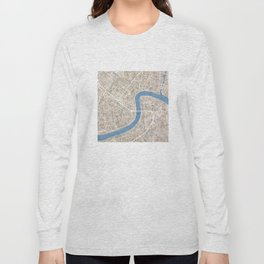 New Orleans Cobblestone Watercolor Map Long Sleeve T-shirt