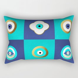 Turquoise and Blue evil eyes Rectangular Pillow