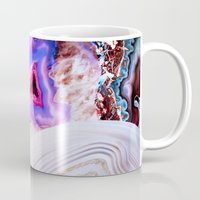 lines Mugs featuring Agate, a vivid Metamorphic rock on Fire by Elena Kulikova
