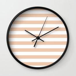 Narrow Horizontal Stripes - White and Desert Sand Orange Wall Clock