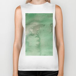 Hand painted forest green brown watercolor camo pattern Biker Tank