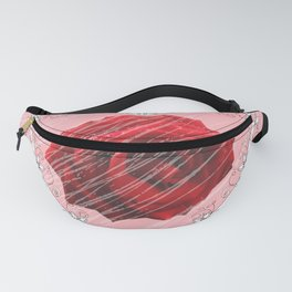 floral heart with red rose Fanny Pack