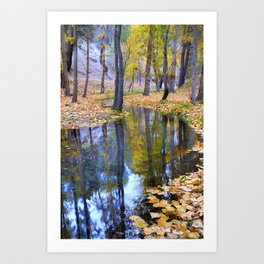 """Curves"". Autumn forest Art Print"
