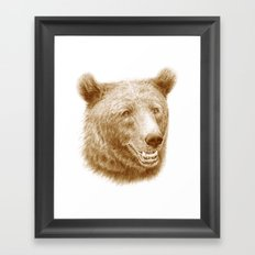 Brown bear is happy Framed Art Print