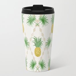 Exotic tropical  pattern with palm branches and pineapples . Travel Mug