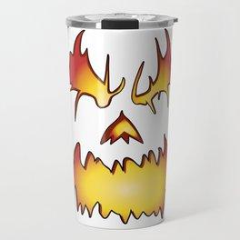 Jackolantern Face Angry Halloween Pumpkin Fire Light Travel Mug