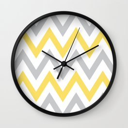 Gray & Yellow Chevron Wall Clock