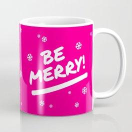 Bright Pink Be Merry Christmas Snowflakes Coffee Mug