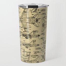 F-18 Blueprints // Tan Travel Mug