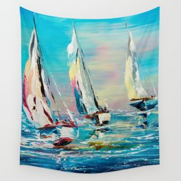 YACHTS ON THE WIND Wall Tapestry