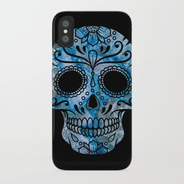 Blue Lace Sugar Skull iPhone Case