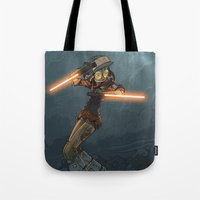 bouletcorp Tote Bags featuring LaserGirl by Bouletcorp